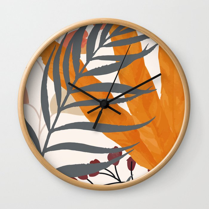 Colorful Red Leaves Wall Clock
