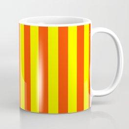 Super Bright Neon Orange and Yellow Vertical Beach Hut Stripes Coffee Mug
