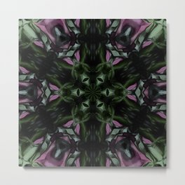 Rose And Jade Geometric Hexagonal  Mandala Pattern Metal Print