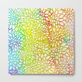 Stain Glass Floral Abstract - Rainbow Colors Metal Print