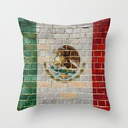 Mexico flag on a brick wall Throw Pillow