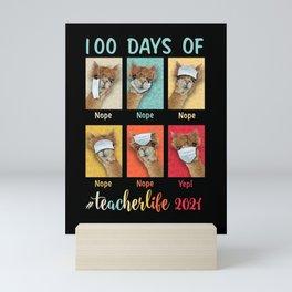 Funny 100 Days of School Teacher Llama Wearing Mask Wrong Mini Art Print