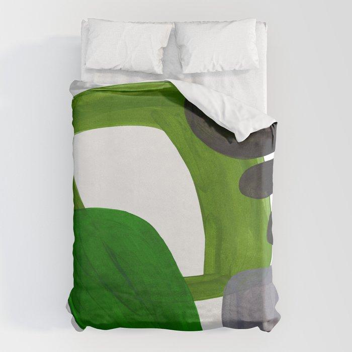 Mid Century Vintage 70's Design Abstract Minimalist Colorful Pop Art Olive Green Dark Green Grey Bettbezug