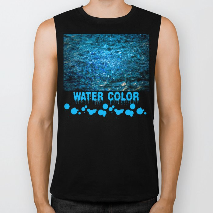Water Color - Blue Biker Tank