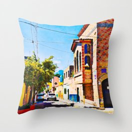 Narrow street in Ajijik, Mexico Throw Pillow