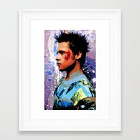 brad pitt Framed Art Prints featuring Brad Pitt Art Poster by NLopezArt