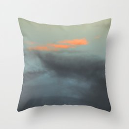 Three orange clouds Throw Pillow