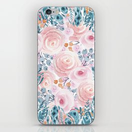 Blush pink blue coral watercolor hand painted floral iPhone Skin