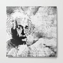 Albert Einstein - schwarz-weiß Metal Print