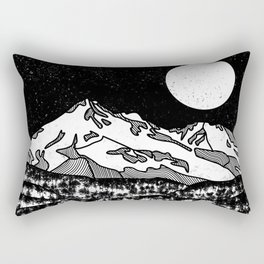 Mount Shasta Black and White Rectangular Pillow