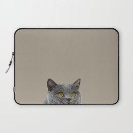 Curious cat home decor British Shorthair cat taupe background minimal design Laptop Sleeve