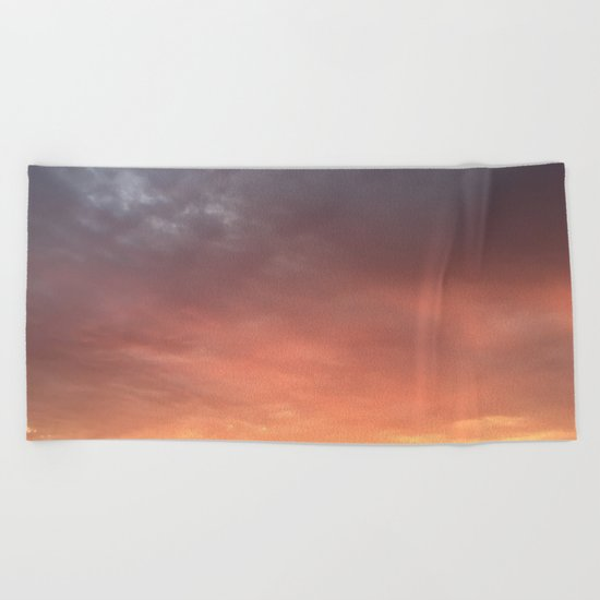 Yellow Red and Gray Sky Beach Towel