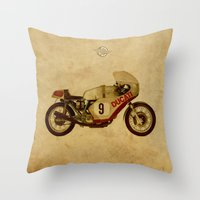 ducati Throw Pillows featuring Ducati Number 9 by Larsson Stevensem