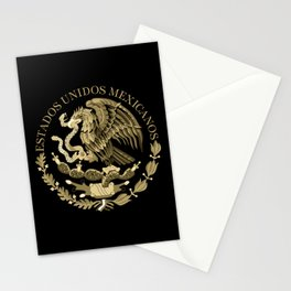 Mexican flag seal in sepia tones on black bg Stationery Cards