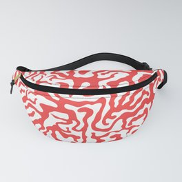 River Network Pattern (White and Coral Red) Fanny Pack
