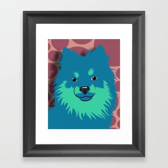 Olie the Pomeranian in Blue Framed Art Print