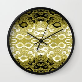 Snake skin scales texture. Seamless pattern black yellow gold white background. simple ornament Wall Clock
