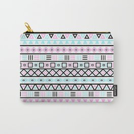 Aztec Influence Pattern Blue Black Pink White Carry-All Pouch