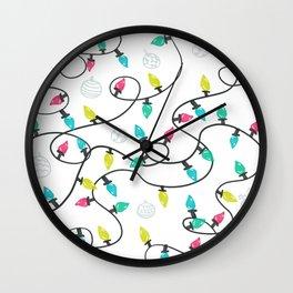 Christmas holiday lights pattern Wall Clock