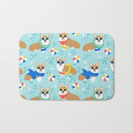 Corgi Pool Party Summer corgi pattern beach pall summer corgi costume cute dog design Bath Mat