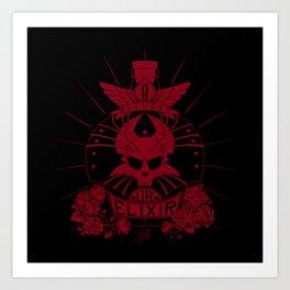 9-Lives Life Elixir (Red Lineart) Art Print