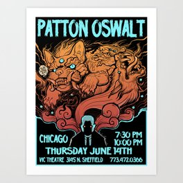 Patton Oswalt gig poster- Vic Theater ,Chicago Art Print