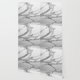 White Marble With Silver-Grey Veins Wallpaper