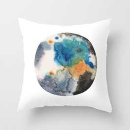 Blue, Black, Tan and Silver Planet Painting Throw Pillow