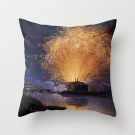 Fireworks on Castel Sant'Angelo & Tiber River, Rome, Italy by Jacob Philipp Hackert Throw Pillow