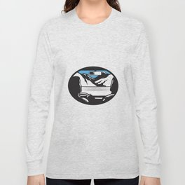 Driver Looking Up Mountain Car Windshield Oval Woodcut Long Sleeve T-shirt