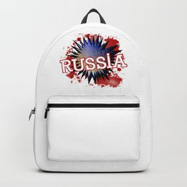 Russia In Red White And Blue Cartoon Exclamation Backpack