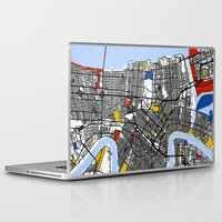 new orleans Laptop & iPad Skins featuring New Orleans by Mondrian Maps