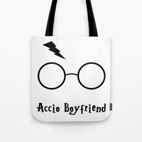 boyfriend Tote Bags featuring Accio Boyfriend by Vortha