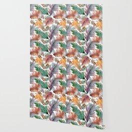 Colorful Watercolor Oak And Acorn Pattern Wallpaper