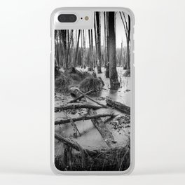 Black and White Swamp Clear iPhone Case