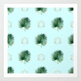 Minimal Tropical Palm Leaf - Palm And Gold - Gold Geometric Pattern 3 - Modern Tropical Wall Art Art Print