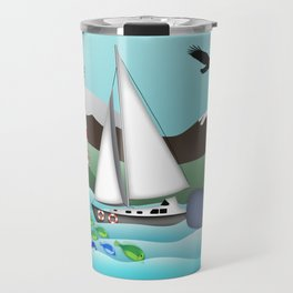 Coastal Sailing - Nautical Landscape Scene Travel Mug