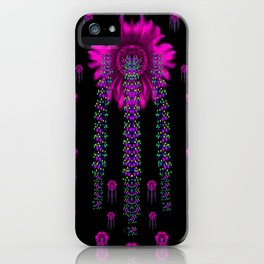 jungle flowers in the dark iPhone Case
