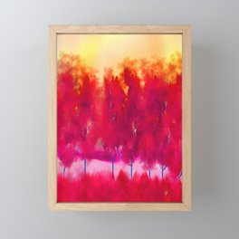 Sunset in Fall Abstract Landscape Framed Mini Art Print