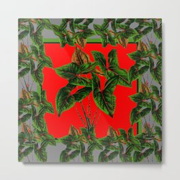 Decorative  Red & Grey Tropical Botanical Green Foliage Metal Print