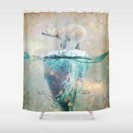 Polar Bear Adrift Shower Curtain