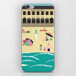 Bondi Beach Vintage Style Art Print iPhone Skin