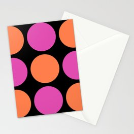 Mid Century Modern Polka Dot Pattern 9 Pink and Orange 2 Stationery Cards