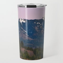 Snowy Saddle Mountain Snow Forest Pacific Northwest PNW Oregon Trees Landscape Purple Sunset Big SKy Travel Mug