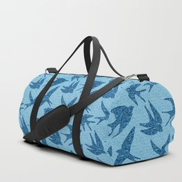 Swallows in Flight, Cobalt and Pale Blue Duffle Bag