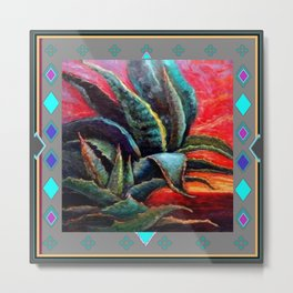 GREY ART DECO SOUTHWEST DESERT AGAVE Metal Print