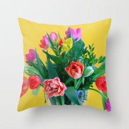 Colorful Spring Tulips on Yellow Background Throw Pillow