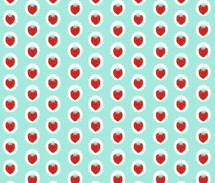 Strawberry fruit tropical mint nature food fresh pattern design geometric berries children farming  Metal Travel Mug