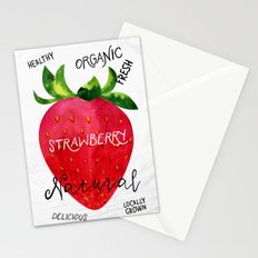 Watercolor strawberry Stationery Cards