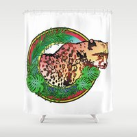 leopard Shower Curtains featuring leopard by Elena Trupak